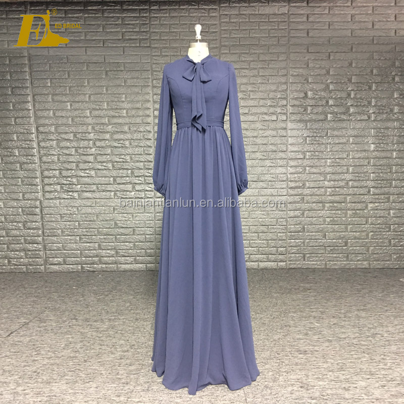 Formal Wear Bow Neckline Wholesale Price Robe Soiree Evening Dress Long Sleeve