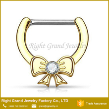 Surgical Steel Gold Plated butterfly Knot Septum Clicker Nose Ring