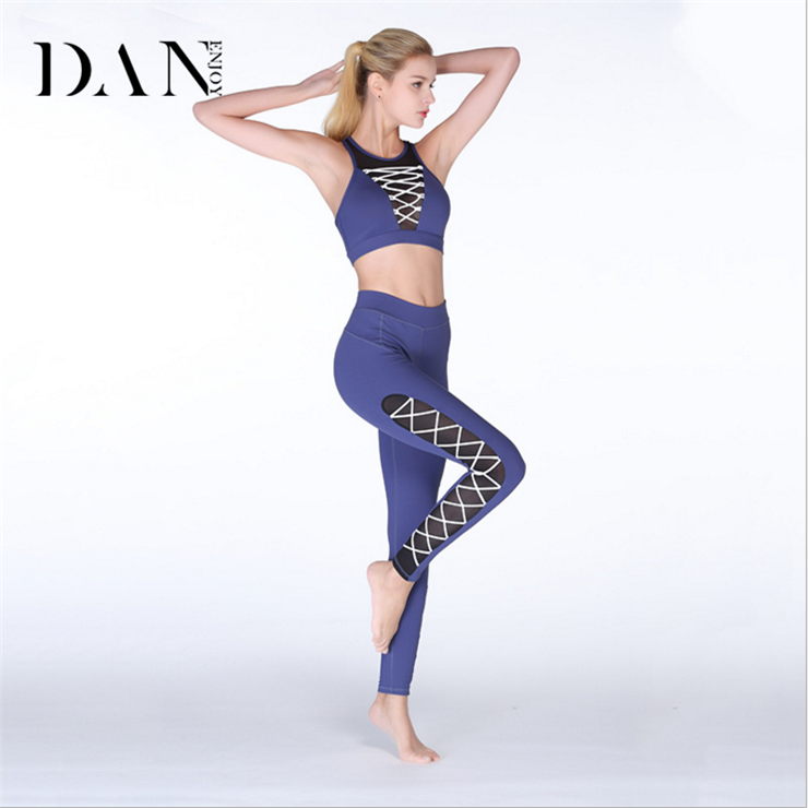2018 New Design Women Sexy Mesh Sports Quick Dry 2 Piece Yoga Bra and Leggings Set