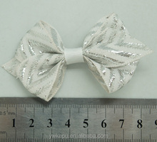Popular fake rose flower, plain hair bow, fancy bow glitter flower printed hair tie