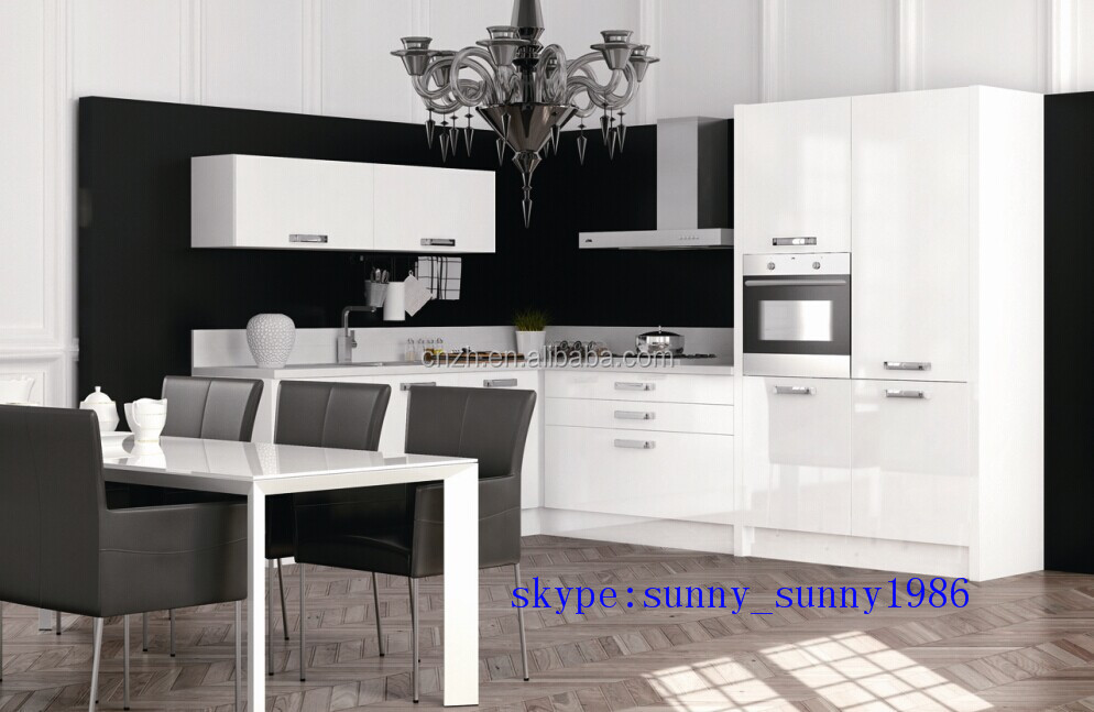 Glossy white flat packed kitchen cabinets for hotel for Kitchen cabinets 700mm