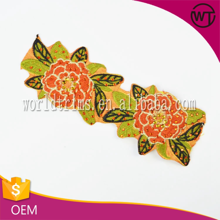 New Arrival Hot Fixed Stone Floral Embroidery Design
