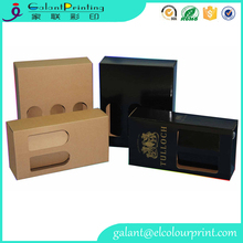 brown kraft wine box packaging with clear window