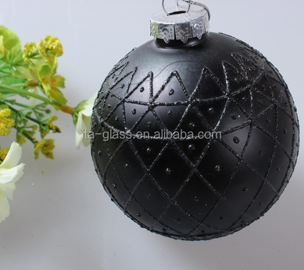 China new product Christmas clear glass ball Christmas ornaments,Hand Blown christmas ornaments clear glass black ball