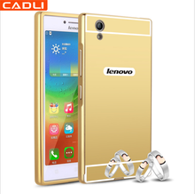 2-In-1 Gold Electroplated Mirror Aluminum Metal Bumper Phone Case For Lenovo P70