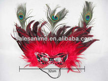 Wholesale AnimeMasquerde Costume Party Mask Peacock Eye Feather Sequin mask Red