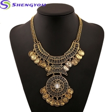 2018 Vintage Alloy Jewelry Filigreed Engraving Coins Statement Necklace