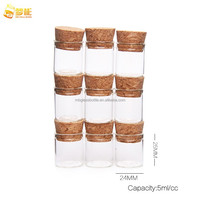 Fast shipping 5cc Clear glass test vial with cork in good quality by stock