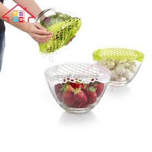 Kitchen utensils silicone colorful flat splatter screen frying strainer with antiskid handle pot cover pan lid