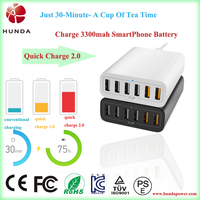 HUNDA Quick Charge 2.0 60W 6 Ports USB Desktop Charging Station Wall Charger, eu uk usb wall charger quick charge 2 0