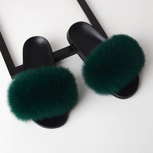 Wholesale soft alpaca furry warm fox fur slides sandal slippers in different colours
