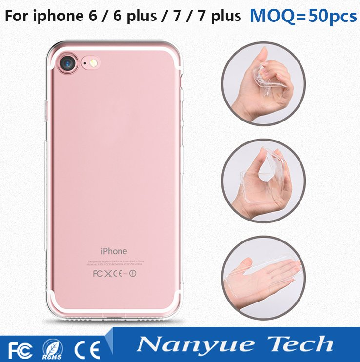 Hot sale MOQ=50pcs free sample clear transparent ultra thin tpu phone case for iphone 5s 6s 7 plus