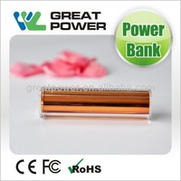 2014 hot factory direct selling lipstick power bank 2600 mah power bank external battery