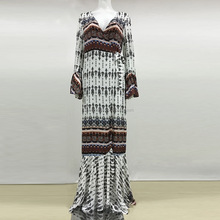Hotsale Fashion Ladies Dress Women Bohemia Long Maxi Chiffon Dress National Style Printed Women Dress