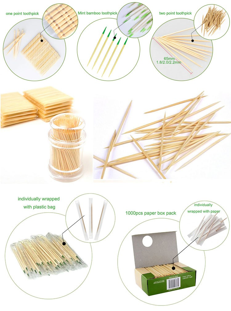 Eco friendly natural bamboo toothpicks for food new products in 2018