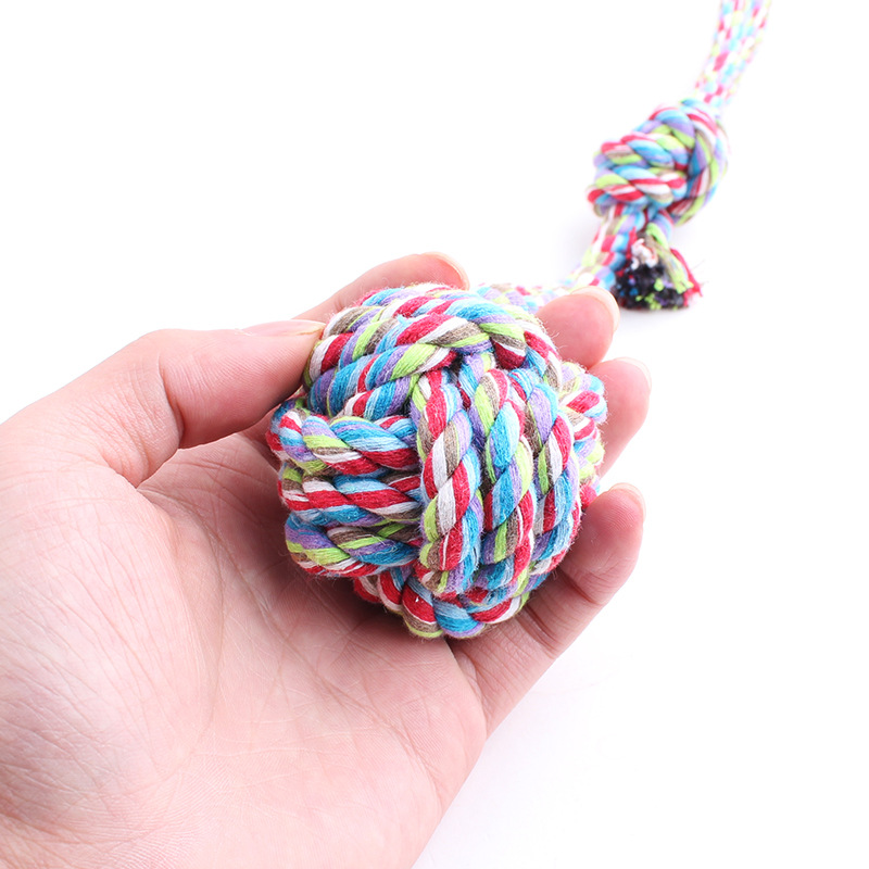 Spot wholesale cotton rope hand drawn long tail ball trumpet dog toy 30CM Taobao hot mixed batch