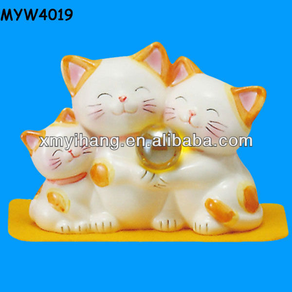 Handmade ceramic hand painted 3 lucky cat figurines