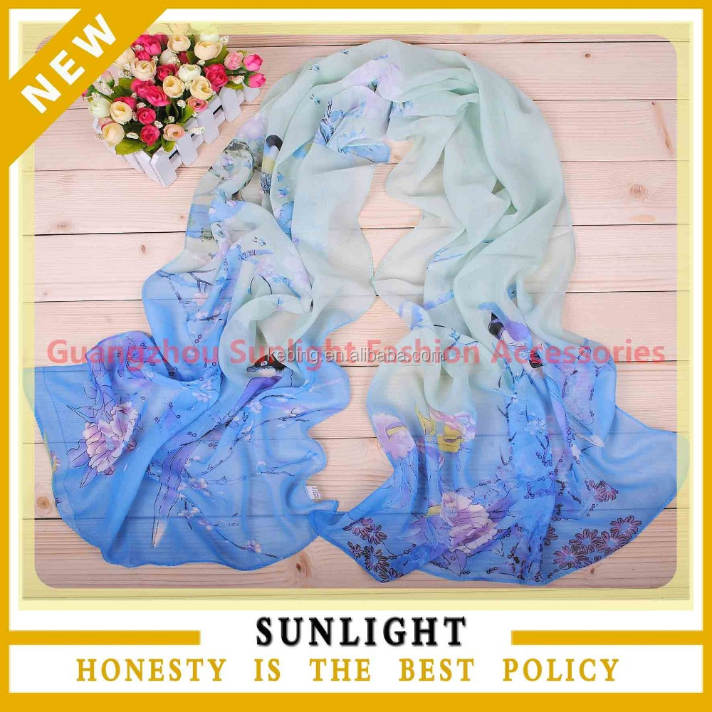 digital printing custom design big squsre silk chiffon scarf