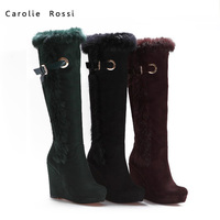 Women keep warm rabbit fur thigh high long winter boots