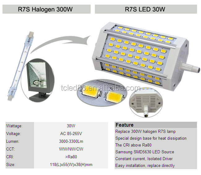 Cri80 25w 118mm r7s lampada led lineare 30w led r7s 118mm for Lampada led lineare r7s