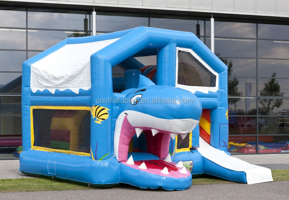 COMBO JUMPER SHARK WITH ROOF, new design inflatable combo, bouncy castle for kids