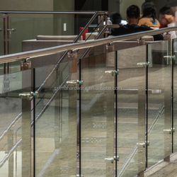 Tempered Glass Rails Chrome Handrail For Stairs