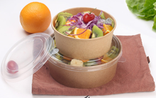 Disposable salad bowl kraft paper packing bowl fruit salad box round paper bowl cover box