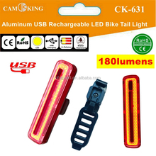 USB rechargeable COB LED Aluminum Bike Rear Tail Light 180lumens with Helmet Mount