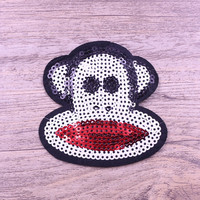 New design sequin monkey embroidered patch for shorts pants