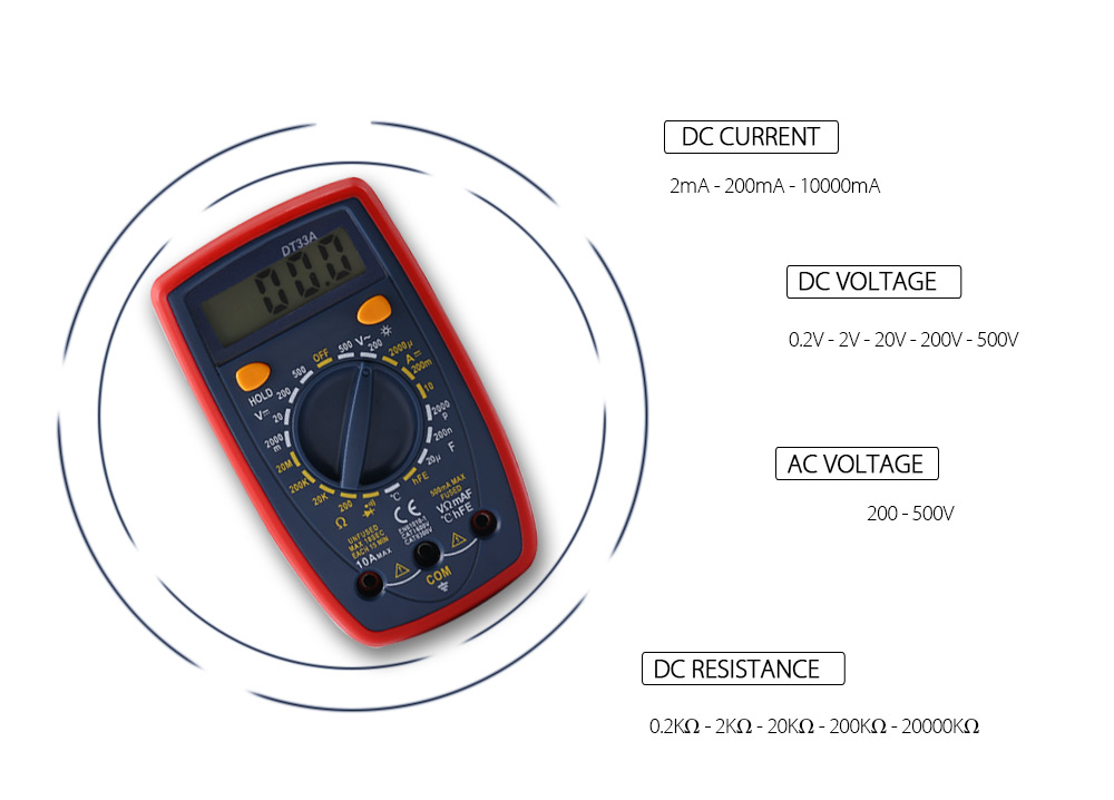 Original WHDZ DT33A Portable Alarm Digital Multimeter DC/AC Voltage Current Resistance Multi <strong>Tester</strong> with Backlight LCD Display