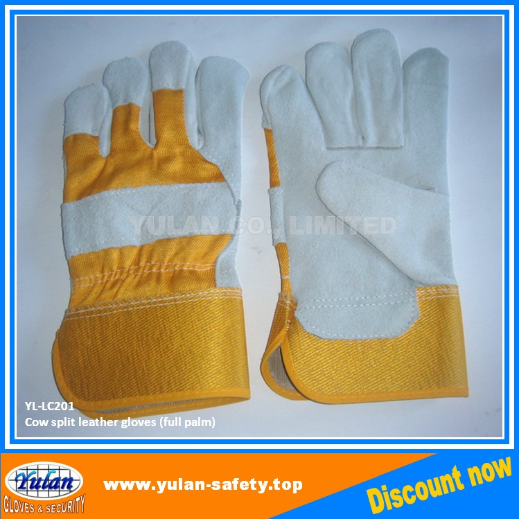 "10.5"" AB grade cow split two fingers full palm leather working glove"