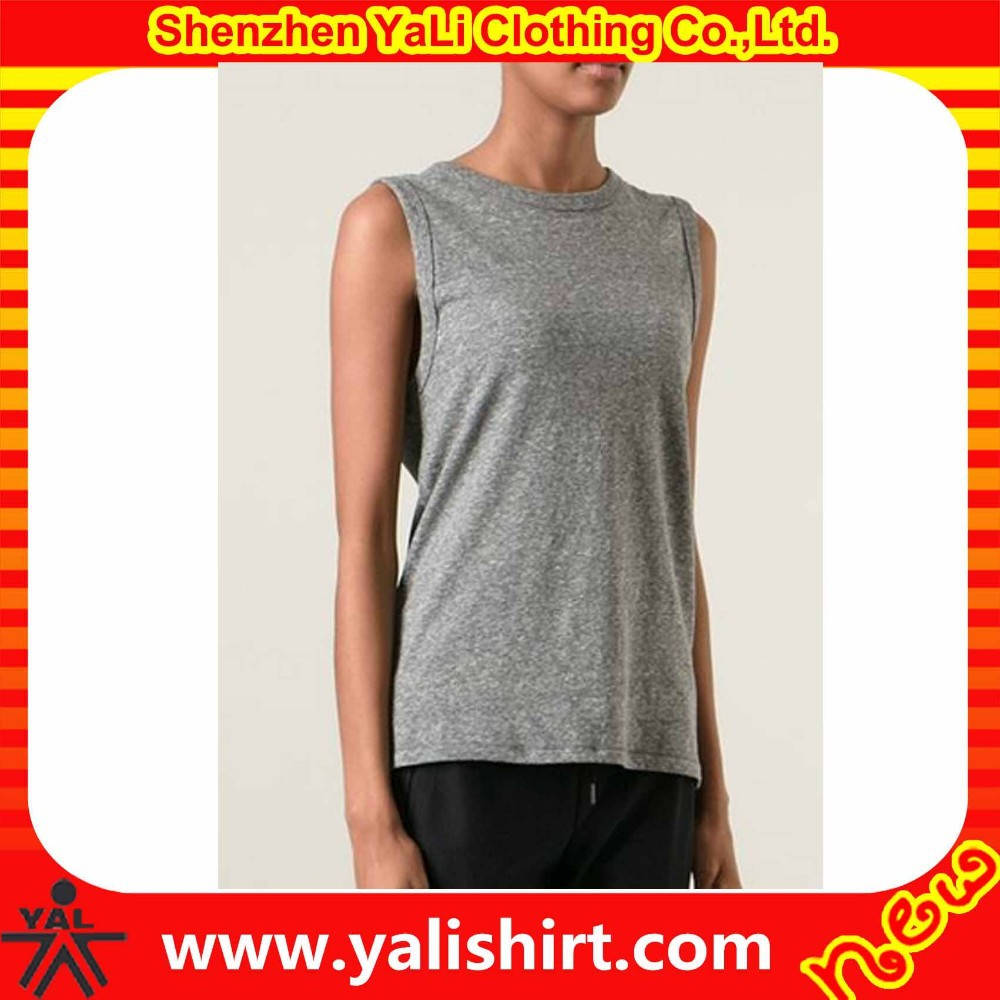 Custom cheap comfortable plain o-neck cotton heathered grey longline sleeveless tee shirt blanks