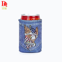 Advertising gift durable portable insulated bottle holder neoprene hessian can cooler
