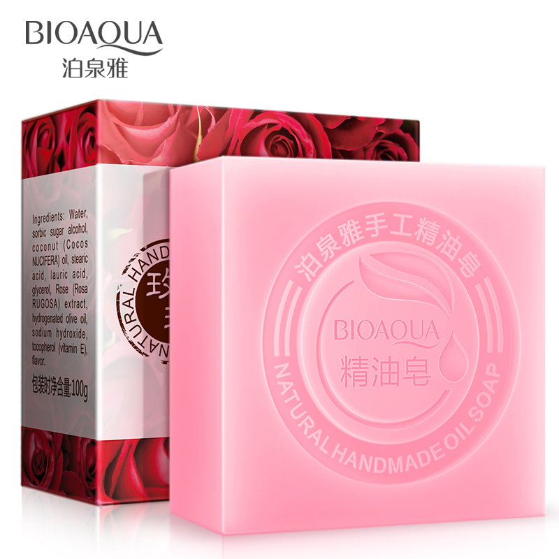 bioaqua rose plant extract essence oil soap moisturizing nourishing handmade bath soap