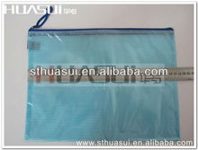 Customized blue zipper bag / pvc mesh material file holder