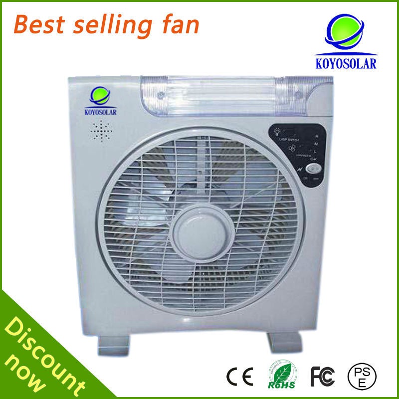 High quality china small rechargeable box fans with emergency light