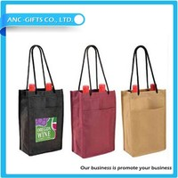 logo print eco wine bottle bag custom logo wine bag logo non woven bag cheap