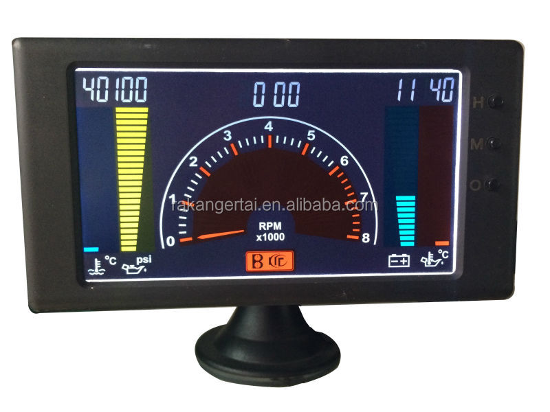 "5"" LCD 6 in1multiple function gauge tachometer,volts,clock,RPM,water temp,oil temp,oil press car auto meter LED gauge"