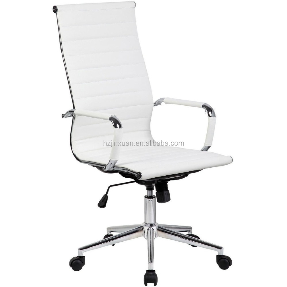Tall Executive White PU Leather Ribbed Office Desk Chair High Back Contemporary luxury leather office chair for office chair