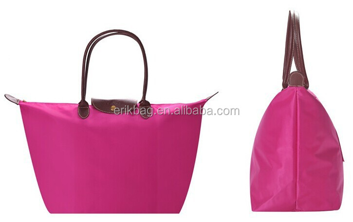 Promotional plain color nylon foldable shopping bag with PVC handles