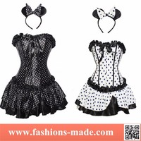 Black White Dot Overbust Dress Corset With Hair Accessories