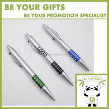 Promotional Custom Logo Advertising Plastic Click ball pen with diamond grip
