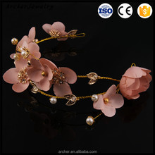 New style classical Bride metal hair <strong>headbands</strong> with Pink peach flower for bride headwear HA-1396