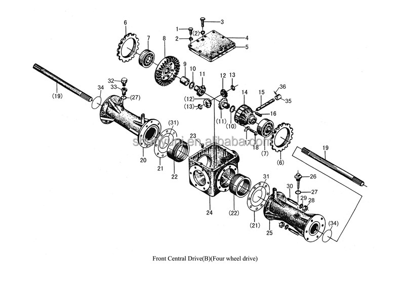 kubota front axle parts diagram