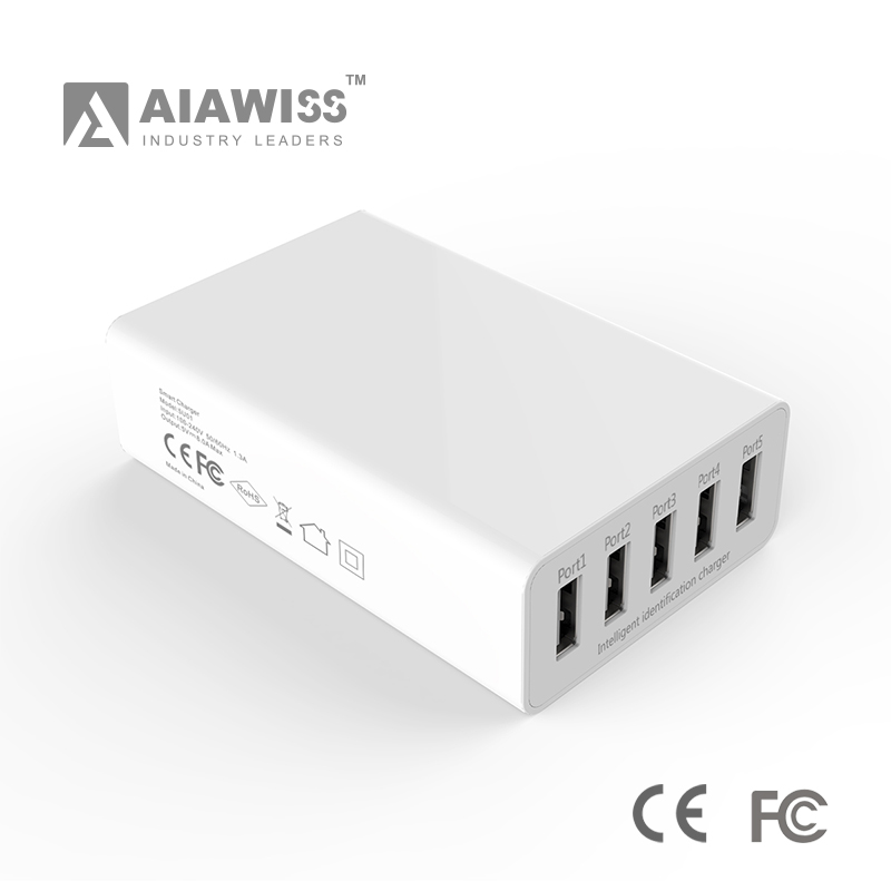 AIAWISS 5V 8A Family-Sized 5 USB Ports Desktop Charger/Table Charger for Cell Phone/Portable Mobile Phone Pad Charger