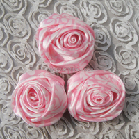 Yiwu Kapu direct satin silk rose flowers artificial ribbon accessory flower high quality colorful wedding holiday party supplies