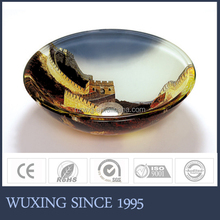 Wonderful beautiful mountain painting round shape luxury kitchen sink