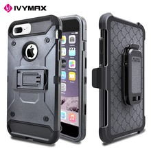 Hybrid Rugged triple Layer Holster Case for iphone 7 plus case with Built-in Rotating Stand Belt Swivel Clip