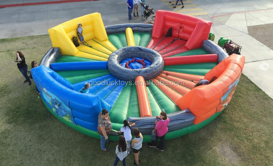 2016 Hot Sale Inflatable Hungry Hippo Chowdown Sport Game for Adult and Kid/Hippo Chow Down 4 Person inflatable Bungee Run game