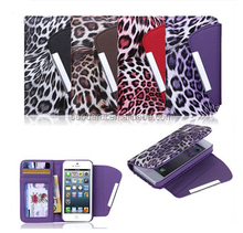 China Factory For iPhone 5S 5G Leopard Grain Leather Wallet Case, Credit Card Slots
